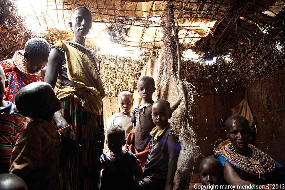 Inside one of the houses built by the Samburu women who traveled from their homes for the ceremony.  Outside Kisima, Samburu County, Kenya.  August 17, 2013.
