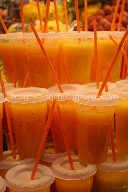 Fruit juice drinks in a spanish market<br />