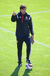 NEWPORT, WALES - Tuesday, October 7, 2014: Wales' manager Chris Coleman during training at Dragon Park National Football Development Centre ahead of the UEFA Euro 2016 qualifying match against Bosnia and Herzegovina. (Pic by David Rawcliffe/Propaganda)