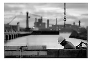 Ghent, Belgium, Oct 27, 2005, Construction of two detentionboats for the Dutch government. PHOTO © Christophe VANDER EECKEN