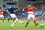 Ross Barkley of Everton shoots at goal  but sees his effort saved. Premier league match, Everton v Middlesbrough at Goodison Park in Liverpool, Merseyside on Saturday 17th September 2016.<br /> pic by Chris Stading, Andrew Orchard sports photography.