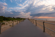 A wide angle shot looking down the Spring Lake boardwalk at down on the 4th of July.
