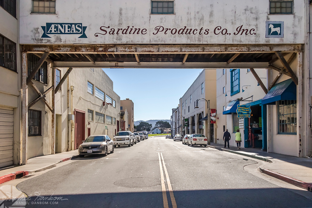 Cannery Row, Monterey, California, looking toward the wharf area and harbor