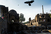 """5th February 2015, New Delhi, India. View of the three-tiered arcaded pavilion with an Ashokan Pillar atop it in the ruins of Feroz Shah Kotla on the 5th February 2015<br /> <br /> PHOTOGRAPH BY AND COPYRIGHT OF SIMON DE TREY-WHITE a photographer in delhi. + 91 98103 99809. Email:simon@simondetreywhite.com<br /> <br /> People have been coming to Firoz Shah Kotla to leave written notes and offerings for Djinns in the hopes of getting wishes granted since the late 1970's. Jinn, jann or djinn are supernatural creatures in Islamic mythology as well as pre-Islamic Arabian mythology. They are mentioned frequently in the Quran  and other Islamic texts and inhabit an unseen world called Djinnestan. In Islamic theology jinn are said to be creatures with free will, made from smokeless fire by Allah as humans were made of clay, among other things. According to the Quran, jinn have free will, and Iblīs abused this freedom in front of Allah by refusing to bow to Adam when Allah ordered angels and jinn to do so. For disobeying Allah, Iblīs was expelled from Paradise and called """"Shayṭān"""" (Satan).They are usually invisible to humans, but humans do appear clearly to jinn, as they can possess them. Like humans, jinn will also be judged on the Day of Judgment and will be sent to Paradise or Hell according to their deeds. Feroz Shah Tughlaq (r. 1351–88), the Sultan of Delhi, established the fortified city of Ferozabad in 1354, as the new capital of the Delhi Sultanate, and included in it the site of the present Feroz Shah Kotla. Kotla literally means fortress or citadel."""