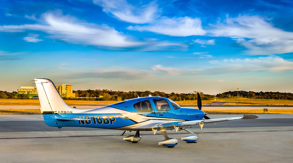 2018 Cirrus Carbon SR22T GTS. photographed at Atlanta's Dekalb Peachtree Airport.  <br />