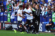 Emile Heskey of Bolton Wanderers replaces Zach Clough as Bolton manager Neil Lennon looks on. . Skybet football league championship match, Bolton Wanderers v Derby County at the Macron stadium in Bolton, Lancs on Saturday 8th August 2015.<br /> pic by Chris Stading, Andrew Orchard sports photography.