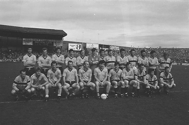 The Dublin team before the All Ireland Senior Gaelic Football Championship Final Kerry v Dublin at Croke Park on the 22nd September 1985. Kerry 2-12 Dublin 2-08.