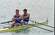 St Catherines, CANADA,    Mens's double Sculls. FRA M2X. .Guillaume JEANNET and Frederic KOWAL. 1999 World Rowing Championships - Martindale Pond, Ontario. 08.1999..[Mandatory Credit; Peter Spurrier/Intersport-images]    ....St Catherines, CANADA,    Mens's double Sculls. FRA M2X. .Guillaume JEANNET and Frederic KOWAL. 1999 World Rowing Championships - Martindale Pond, Ontario. 08.1999..[Mandatory Credit; Peter Spurrier/Intersport-images]    .... 1999 FISA. World Rowing Championships, St Catherines, CANADA