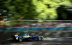E.dams Renault driver Sebastien Buemi on his way to victory during the Visa London ePrix at Battersea Park, London.