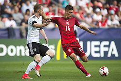 June 18, 2017 - Tychy, Poland - Patrik Schick of Czech and Maximilian Arnold of Germany battle for the ball during the UEFA European Under-21 Championship 2017 Group C match between Germany and Czech Republic at Tychy Stadium in Tychy, Poland on June 18, 2017  (Credit Image: © Andrew Surma/NurPhoto via ZUMA Press)