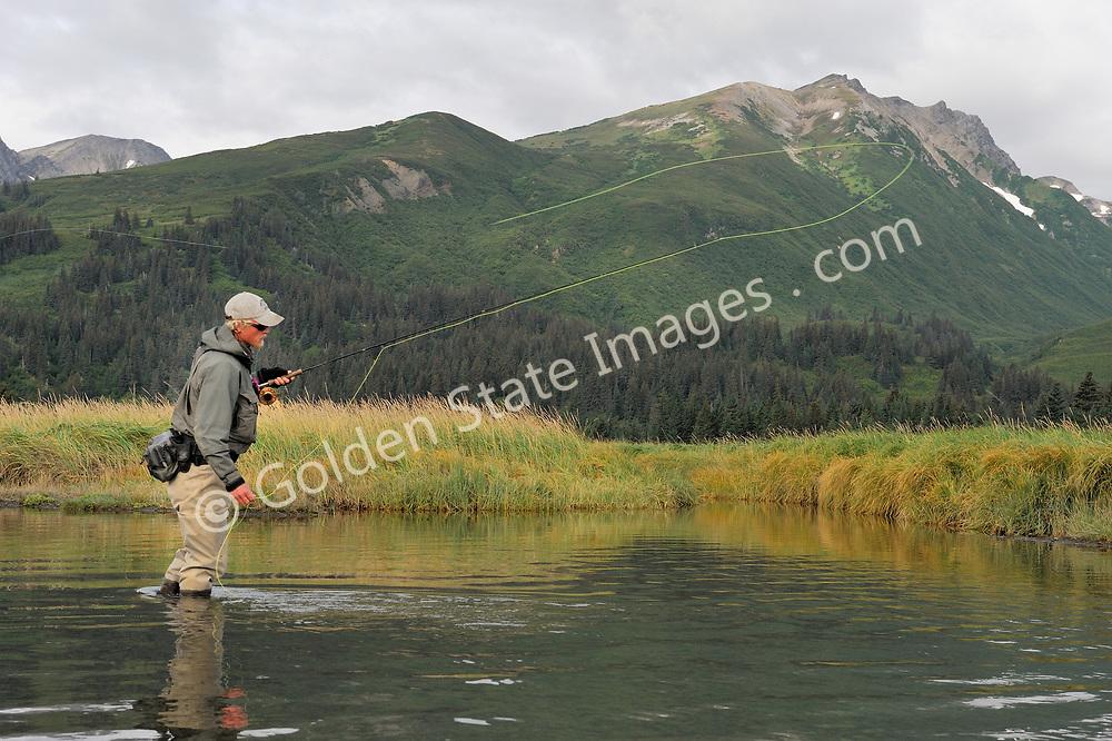 Alaska Fly Fishing - Fly Fishermen<br /> <br /> Location: Silver Salmon Creek - Lake Clark National Park Alaska