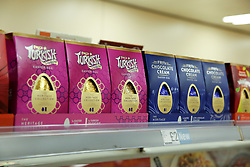 © Licensed to London News Pictures. 03/01/2020. London, UK. Easter Eggs are on sale in Iceland store in Haringey, North London, just nine days after Christmas Day. This year Easter Sunday is on 12 April 2020. Photo credit: Dinendra Haria/LNP