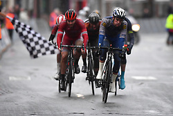 March 1, 2017 - Dour, BELGIUM - Belgian Iljo Keisse of Quick-Step Floors crosses the finish line at the 49th edition of the Grand Prix du Samyn cycling race, Wednesday 01 March 2017. The race starts in Quaregnon and ends in Dour (202,6km). The Grand Prix du Samyn is also the first round of the Napoleon Games Cup. BELGA PHOTO DAVID STOCKMAN (Credit Image: © David Stockman/Belga via ZUMA Press)