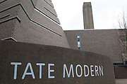 Sign outside the Tate Modern Switch House on March 31st 2017 in London, United Kingdom. Tate Modern is a modern art gallery located in London. It is Britains national gallery of international modern art and forms part of the Tate group. It is based in the former Bankside Power Station, in the Bankside area of the London Borough of Southwark. The new building opened to the public on 17 June 2016.