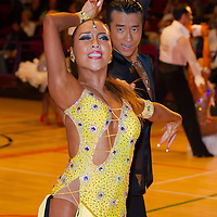Wei Shiou Tseng and Mio Kusakabe from Japan perform their dance during the Professional Latin-american competition of the International Championships held in Brentwood Leasure Centre, Brentwood, United Kingdom. Tuesday, 11. October 2011. ATTILA VOLGYI