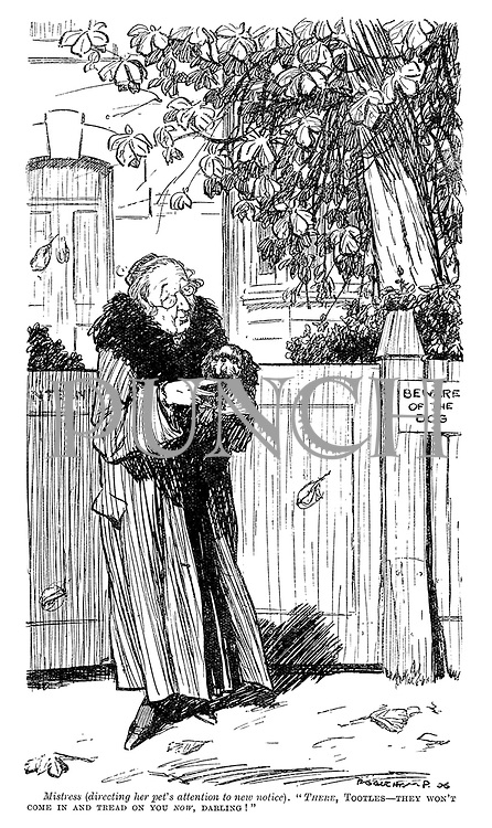 """Mistress (directing her pet's attention to new notice). """"There, Tootles—they won't come in and tread on you now, darling!"""""""