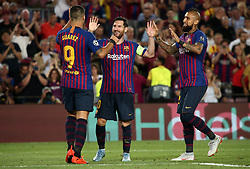 September 18, 2018 - Barcelona, Spain - Leo Messi goal celebration during the match between FC Barcelona and PSV Eindhoven, corresponding to the week 1 of the group stage of the UEFA Champions Leage, played at the Camp Nou Stadium, on 18th September, 2018, in Barcelona, Spain. (Credit Image: © Urbanandsport/NurPhoto/ZUMA Press)