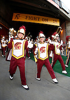 1 September 2007: Trojans Marching Band  marches onto the field from the tunnel under Mario Danelo banner before the USC Trojans college football team defeated the Idaho Vandals 38-10 at the Los Angeles Memorial Coliseum in CA.  NCAA Pac-10 #1 ranked team first game of the season.