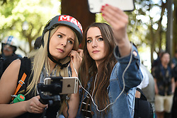 April 27, 2017 - Berkeley, California, U.S - Alt-right videocasters LAUREN SOUTHERN and BRITTANY PETTIBONE broadcast from the sight of an alt-right ''MAGA'' rally at Berkeley's Civic Center Park. Conservative media personality Ann Coulter had originally been planned to speak at the University of California-Berkeley but her speech was cancelled when she and the university couldn't agree on a date and time. (Credit Image: © Jeremy Breningstall via ZUMA Wire)