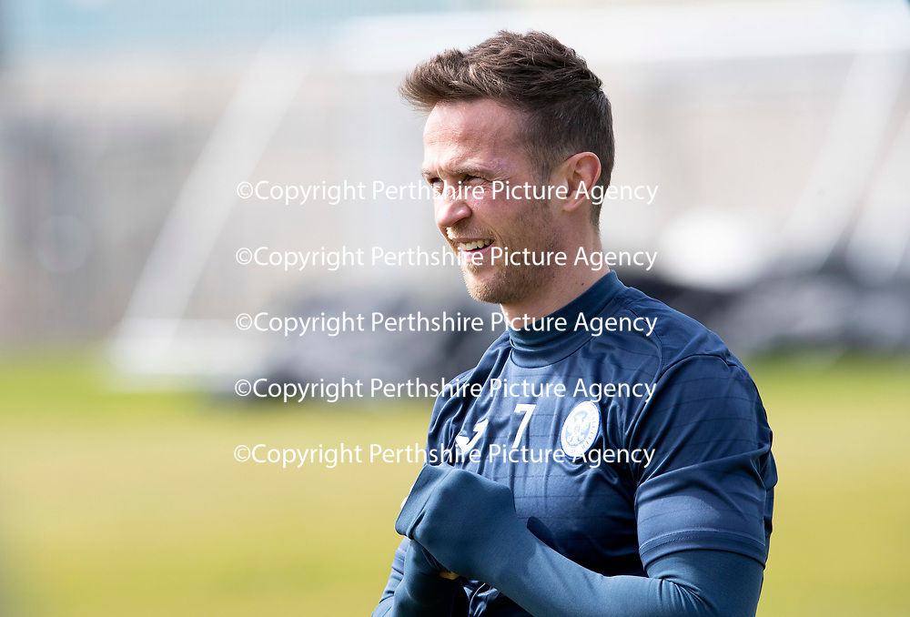 St Johnstone Training…04.05.18<br />Chris Millar pictured during training this morning at McDiarmid Park<br />Picture by Graeme Hart.<br />Copyright Perthshire Picture Agency<br />Tel: 01738 623350  Mobile: 07990 594431