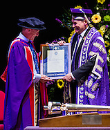 British Astronaut Tim Peake (left) receives an Honorary Doctorate of Science Degree from the Graham Galbraith (right), Vice-Chancellor of the University of Portsmouth at the Guildhall in the city.<br /> Earlier, Tim spent the day at the UK Space Agency Schools Conference hosted by the University.<br /> The conference celebrated the work of over a million UK school students inspired by Peake's Principia mission, which saw the flight dynamics and evaluation graduate spend more than six months on board the International Space Station.<br /> Youngsters had the chance to present their work through talks and exhibitions to experts from the UK Space Agency, European Space Agency (ESA), partner organisations and the space sector. Most also had the chance to meet Tim.<br /> Picture date Wednesday 2nd November, 2016.<br /> Picture by Christopher Ison for the University of Portsmouth.<br /> Contact +447544 044177 chris@christopherison.com