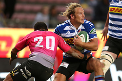 Werner Kok of Western Province attempts to get past Kevin Luiters of the Pumas during the Currie Cup Premier Division match between the DHL Western Province and the Pumas held at the DHL Newlands rugby stadium in Cape Town, South Africa on the 17th September  2016<br /> <br /> Photo by: Shaun Roy / RealTime Images