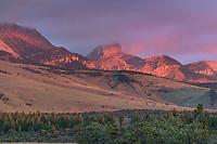 Choteau Mountain at sunrise, Rocky Mountain front ranges near Choteau Montana