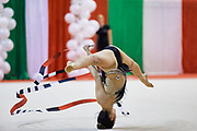 Agiurgiuculese Alexandra during the Italian Rhythmic Gymnastics Championship 2018 in Fabriano.<br /> Alexandra is an Italian individualistic gymnast, of Romanian origins, of the Italian national rhythmic gymnastics. His team in Italy is AS Udinese coached by Spela Dragas.