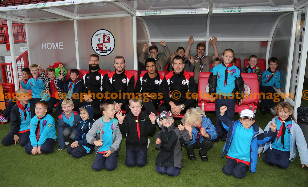Beavers in the dugout during the Sky Bet League 2 match between Crawley Town and Colchester United at the Checkatrade Stadium in Crawley. September 27, 2016.<br /> James Boardman / Telephoto Images<br /> +44 7967 642437