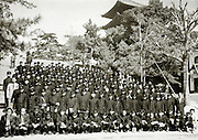 junior high students in uniform during train school trip 1958 Japan