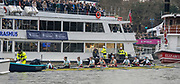 Greater London. United Kingdom, Cambridge women's Blue Boat connected to the stake boat, waiting for the start, University Boat Races , Cambridge University vs Oxford University. Putney to Mortlake,  Championship Course, River Thames, London. <br /> <br /> Saturday  24.03.18<br /> <br /> [Mandatory Credit  Intersport Images]
