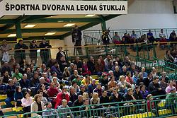Fans during basketball match between KK Krka (SLO) and KK Zagreb (CRO) in 2nd Round of Group E of EuroChallenge, on November 23, 2010 in Arena Leona Stuklja, Novo mesto, Slovenia. (Photo By Vid Ponikvar / Sportida.com)