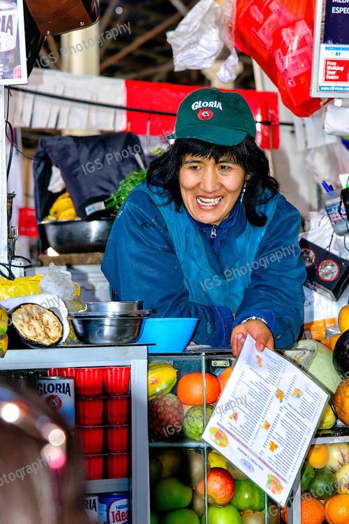 Juice Vendor, San Pedro Central Market in Cusco