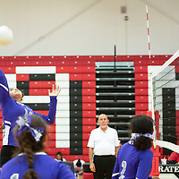 Mariah Livingston with a spike for the Miyamura Lady Patriots in their match against the Grants Lady Pirates Tuesday, Sept. 25, 2018 at Grants High School.