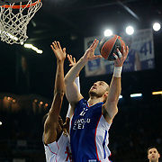 Anadolu Efes's Nenad Krstic (R) during their Turkish Airlines Euroleague Basketball PlayOffs Round 4 match Anadolu Efes between Real Madrid at Abdi ipekci arena in Istanbul, Turkey, Thursday April 23, 2015. Photo by Aykut AKICI/TURKPIX