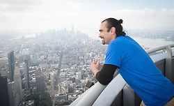 October 3, 2016 - New York, New York, USA - Hamilton's JAVIER MUNOZ lights the Empire State Building for STOMPOutBullying, Monday, October 3, 2016. (Credit Image: © Bryan Smith via ZUMA Wire)