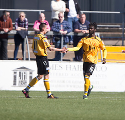 Annan Athletic's Smart Osadolor cele scoring their second goal. half time : Forfar Athletic 1 v 3 Annan Athletic, Scottish Football League Division Two game played 6/5/2017 at Station Park.