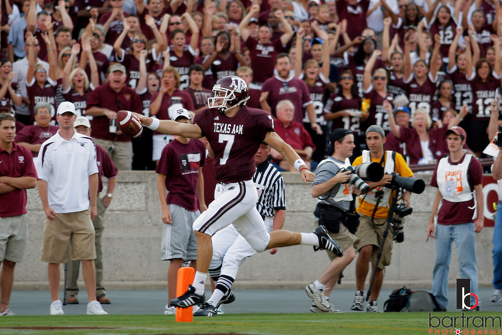 Texas A&M quarterback Stephen McGee scores against Montana State during the third quarter on Saturday, Sept. 1, 2007 in College Station, TX. Texas A&M won the game 38-7.