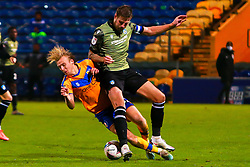 George Lapslie of Mansfield Town collides with Harry Pell of Colchester United - Mandatory by-line: Ryan Crockett/JMP - 20/11/2020 - FOOTBALL - One Call Stadium - Mansfield, England - Mansfield Town v Colchester United - Sky Bet League Two