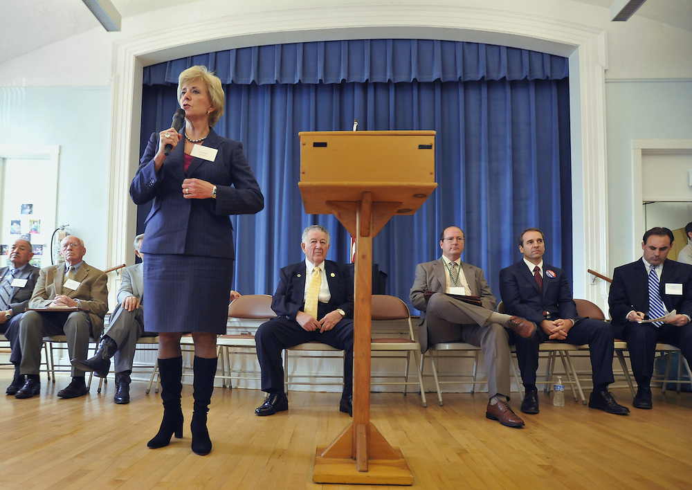 Republican candidate for U.S. Senate Linda McMahon introduces herself to senior citizens at a candidate forum in Manchester, Conn., Thursday, Oct. 21, 2010. Former World Wrestling Entertainment CEO McMahon is battling Richard Blumenthal, the Connecticut  Attorney General, for the senate seat being vacated by the retiring Sen. Chris Dodd.  (AP Photo/Jessica Hill)