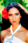 hawaiian model with flower in hair