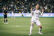 Los Angeles Galaxy forward Juan Pablo Angel celebrates scoring a goal during the second half of an MLS soccer match, Saturday, May 14, 2011, in Carson, Calif. The Galaxy won 4-1. (AP Photo/Bret Hartman)