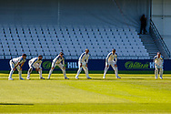 Yorkshire slip cordon on the attack during the Bob Willis Trophy match between Yorkshire County Cricket Club and Leicestershire County Cricket Club at Emerald Headingley Stadium, Leeds, United Kingdom on 9 September 2020.