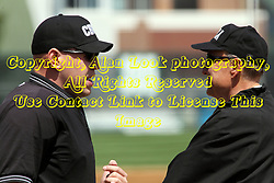 14 April 2013:  Home Plate umpire Steve Jones and First Umpire John Jaggi during an NCAA division 3 College Conference of Illinois and Wisconsin (CCIW) Baseball game between the Elmhurst Bluejays and the Illinois Wesleyan Titans in Jack Horenberger Stadium, Bloomington IL