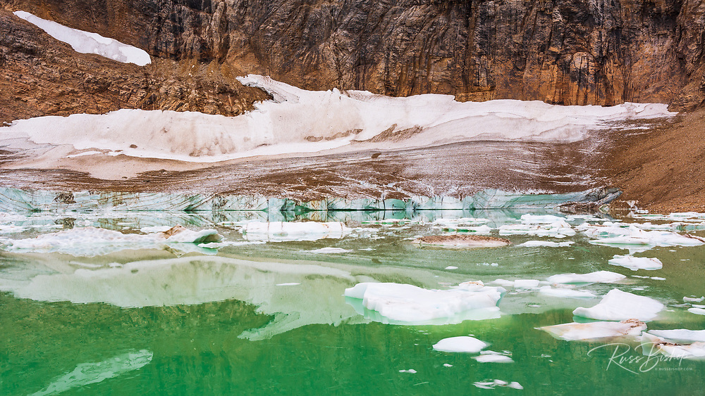 Icebergs on glacial meltwater, Mount Edith Cavell, Jasper National Park, Alberta Canada