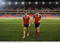 10 June 2013; Jamie Heaslip, left, and Ian Evans, British & Irish Lions, during a stadium visit ahead of their game against Combined Country on Tuesday. British & Irish Lions Tour 2013, Stadium Visit, Hunter Stadium, Newcastle, NSW, Australia. Picture credit: Stephen McCarthy / SPORTSFILE
