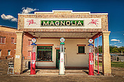 An old Magnolia Gas Station in Shamrock Texas along Route 66. Missoula Photographer
