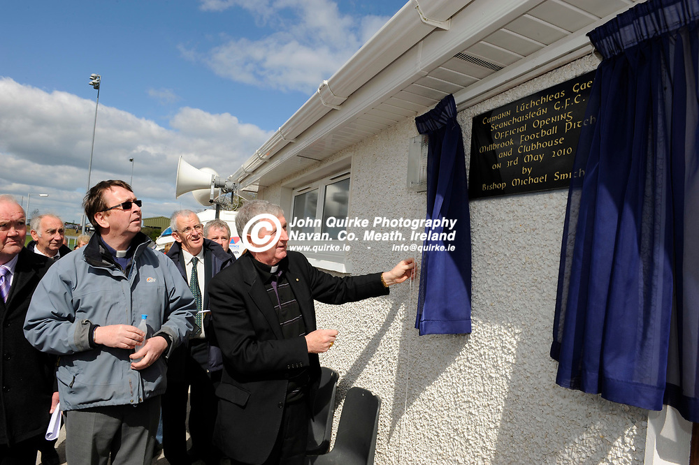 03-05-10. Official opening of Oldcastle GAA new pitch at Millbrook.<br /> Bishop Michael Smith un-veiling the plaque to officially open Oldcastle GFC facility at Millbrook.<br /> Photo: John Quirke / www.quirke.ie<br /> ©John Quirke Photography, Unit 17, Blackcastle Shopping Cte. Navan. Co. Meath. 046-9079044 / 087-2579454.