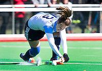 AMSTELVEEN - HOCKEY - Sabine Plönissen van Hurley  tijdens de hoofdklasse hockeywedstrijd tussen de vrouwen van Hurley en Oranje-Zwart.  COPYRIGHT KOEN SUYK