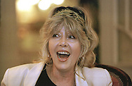 Actress Ingrid Pitt pictured in Edinburgh at the launch of her autobiography. Born Ingoushka Petrov in Poland to a German father and a Jewish mother, during World War II she and her family were imprisoned in a concentration camp. She met and married an American and moved to Hollywood where she starred in numerous films and television shows, including the Hammer Film Productions horror series.